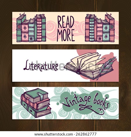 Retro antiquarian books hand drawn horizontal banner set isolated vector illustration - stock vector