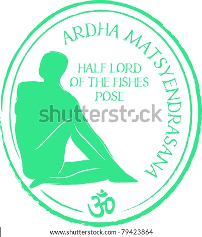 Retro Ardha Matsyendrasana Yoga Half Lord of the Fishes Pose in Passport Stamp Style Vector Illustration - stock vector