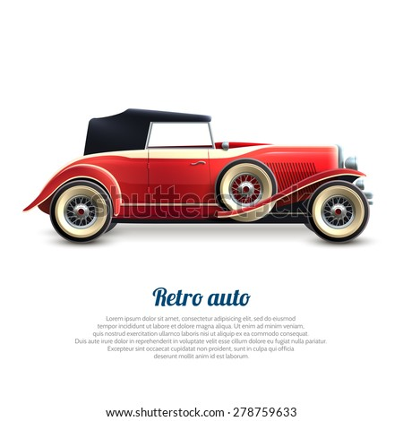 Retro auto red classic cabriolet car profile poster vector illustration - stock vector
