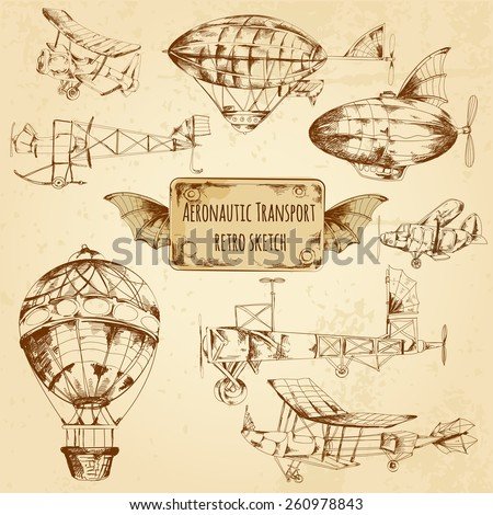 Retro aviation aeronautic transport sketch decorative icons set isolated vector illustration - stock vector