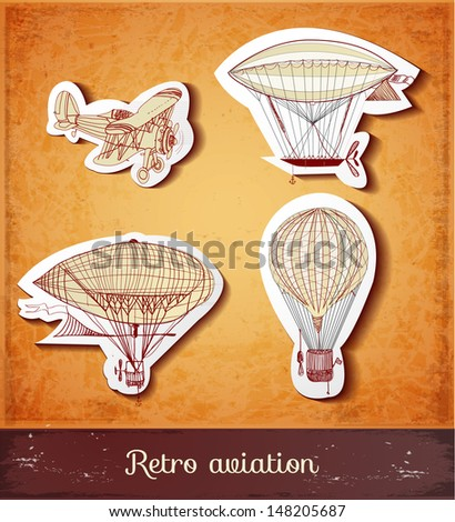 Retro aviation collection in vintage style. Realistic shadows. Vector illustration.  - stock vector