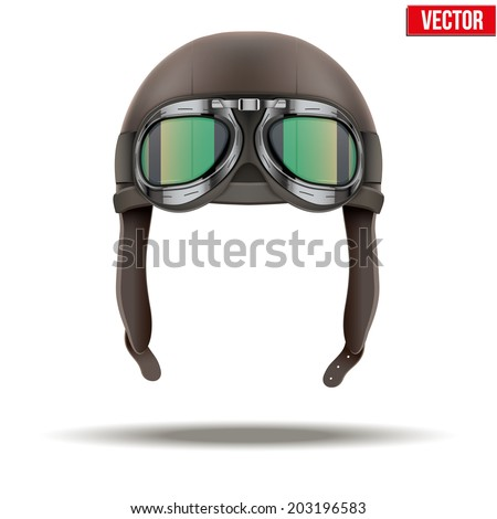 Retro aviator pilot leather helmet with goggles. Vintage object. Vector Illustration. Isolated on white - stock vector