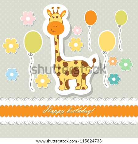 Retro baby art sweet kid pink card for boy girl baby invitation, greeting, happy birthday, label, postcard, congratulations, color children, design element, old frame, gift, banner text vector eps 8 - stock vector