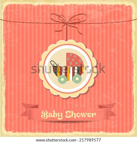 retro baby shower card with stroller, vector format - stock vector