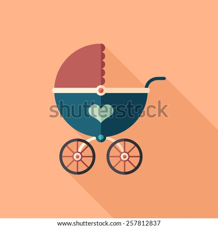 Retro baby stroller flat square icon with long shadows.  - stock vector