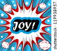 Retro background Design Template boom with word JOY Comic book background - stock vector