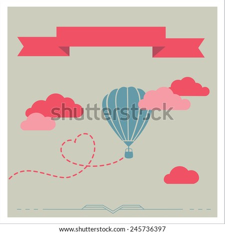 Retro background with aerostat flying in the clouds, romantic vector illustration  - stock vector