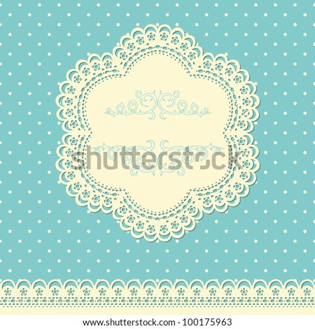 Retro background with lace and doted wallpaper - stock vector