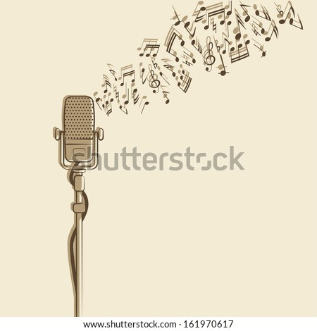 retro background with microphone - vector illustration - stock vector