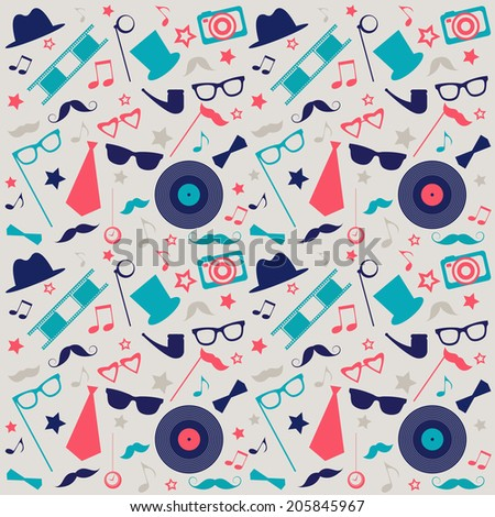 Retro background with mustaches, hats and sunglasses  - stock vector