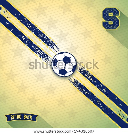 Retro background with two sport line on diagonal and soccer ball in center. Vector eps 10 - stock vector