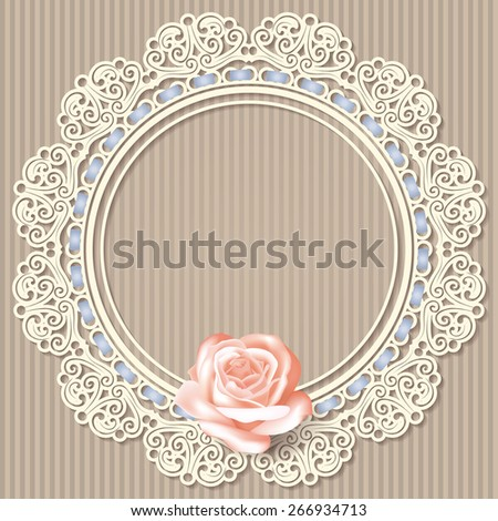 retro background with white empty lace frame doily, realistic rose on beige linear background. in pastel colors. for greeting, birthday card, wedding invitation. vector illustration. - stock vector