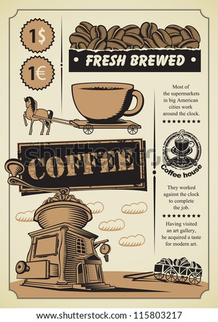retro banner on the coffee theme - stock vector