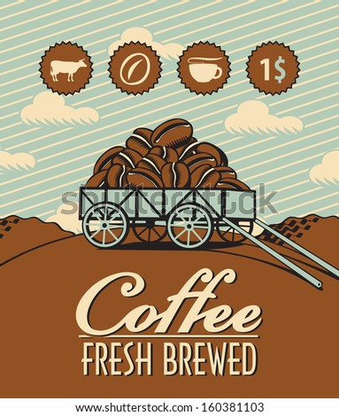 retro banner with a cart loaded with coffee beans - stock vector