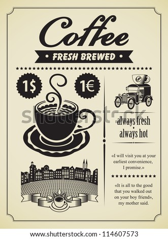 Retro banner with a cup of coffee and a vintage car - stock vector
