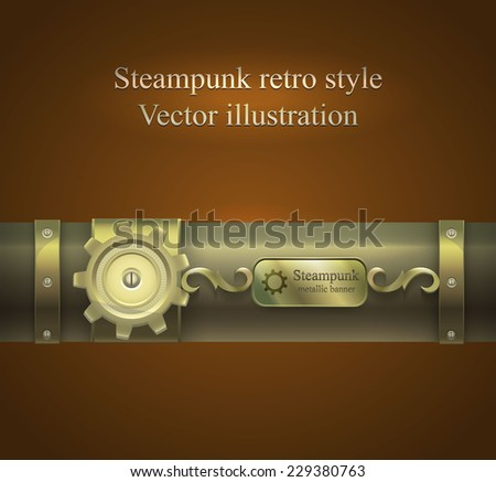 retro banner  with gears and tubes in shades of brown. Steampunk. vector illustration - stock vector