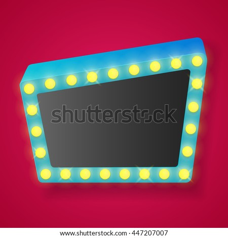 Retro banner with shining lights. Vector illustration. - stock vector