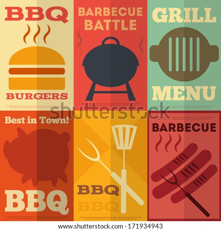 Retro Barbecue  Posters Collection in Flat Design Style. Vector Illustration. - stock vector