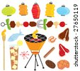 retro barbeque party with tiki torch, lanterns, shish kabob, drink, fish and meats - stock vector