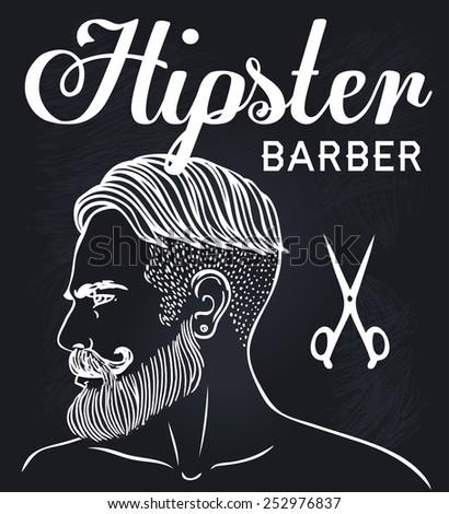 Retro Barber Shop Vintage Template. Vector chalk illustration with man's profile on a blackboard. - stock vector