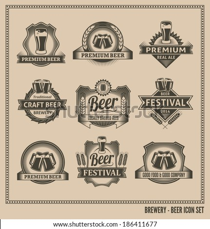 Retro Beer Labels and Icons - Vector Design Set - stock vector