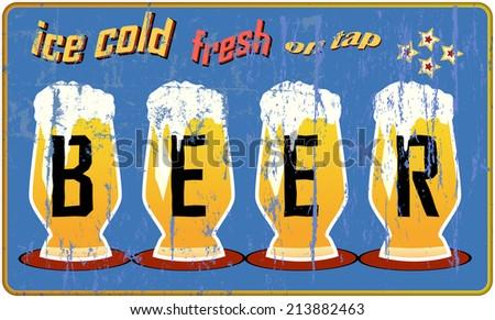 retro beer sign, vector illustration - stock vector