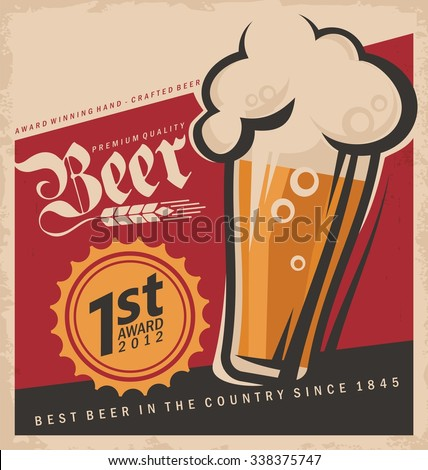 Retro beer vector poster. Vintage poster template with glass of beer. Retro label or banner design for Oktoberfest. Vector old paper texture food and drink background concept. - stock vector