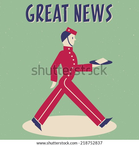 Retro Bellboy with Message Great News - stock vector