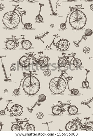 retro bicycles, seamless pattern  - stock vector