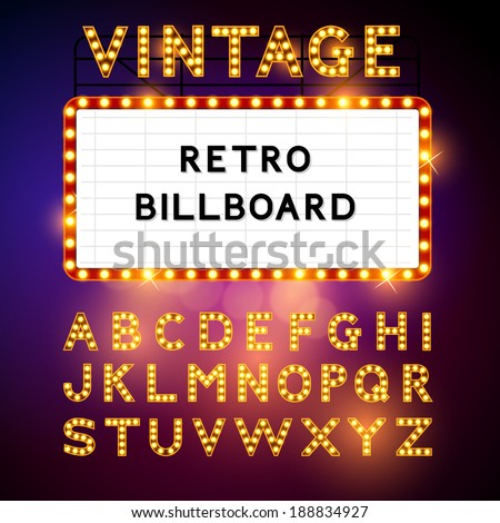 Retro Billboard waiting for your message! Also includes glamorous vector alphabet Vector illustration - stock vector