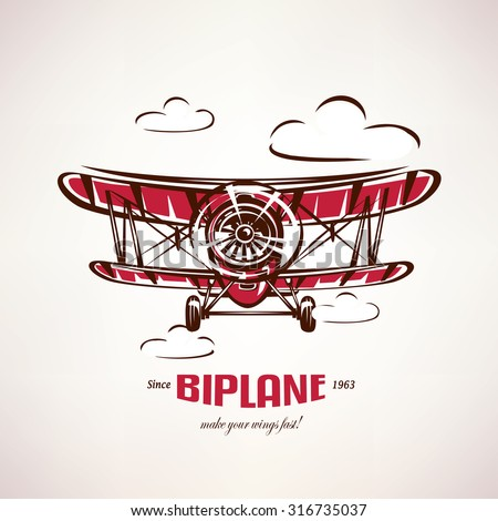 retro biplane, vintage airplane vector symbol, emblem, label template - stock vector