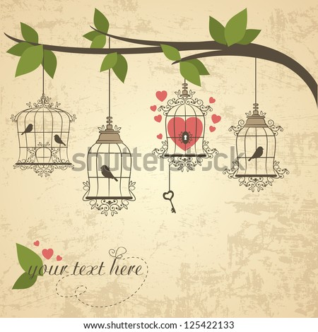 Retro birds in a cage. Vector illustration of Valentines theme - stock vector