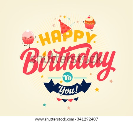 Retro Birthday card - stock vector