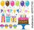 Retro Birthday Elements - stock vector