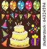 Retro Birthday Party - stock vector