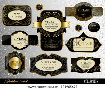 Retro black gold label/can be used for invitation, congratulation or website layout vector - stock vector