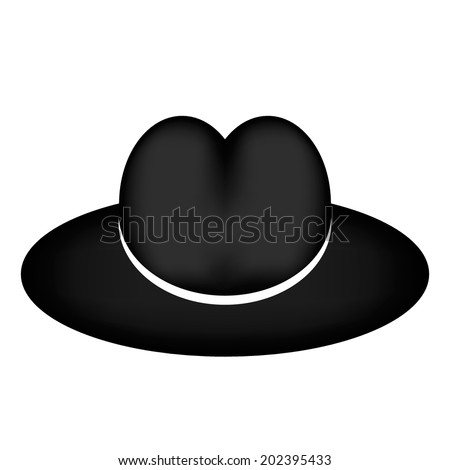 Retro black men hat on white. Vector illustration. - stock vector