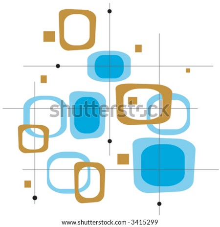 Retro Blue and Brown Squares (Vector) Spot illustration of stylish, retro blue and brown squares. Easy-edit layered vector file--No transparencies or strokes! - stock vector