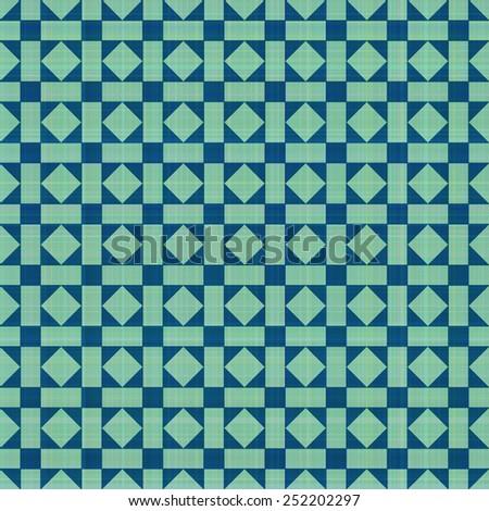 Retro blue-green ornate mosaic seamless plaid  - stock vector