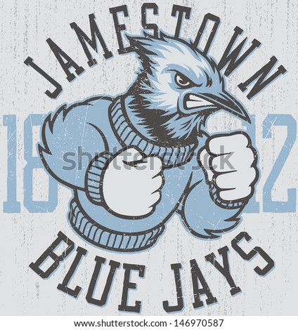 "Retro ""Blue Jay"" athletic design complete with blue jay mascot vector illustration, vintage athletic fonts and matching textures (all on separate layers, of course).  - stock vector"