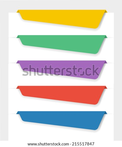 Retro bookmarks in different colors for web - stock vector
