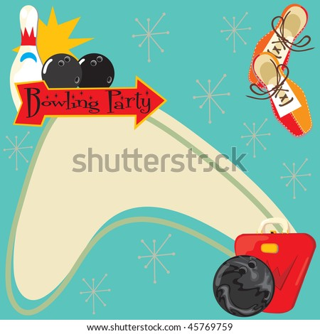 Retro Bowling Party Invitation with room for type - stock vector