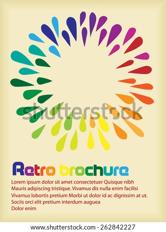 Retro brochure with rainbow drops in circle - stock vector