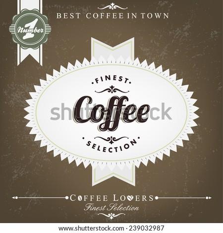 Retro Brown Vintage Coffee Background - stock vector