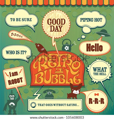 Retro Bubble Set - stock vector
