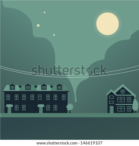 Retro building background - stock vector