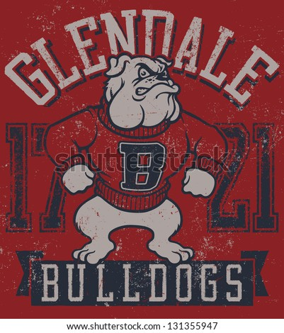 """Retro """"Bulldogs"""" athletic design complete with bulldog mascot vector illustration, vintage athletic fonts and matching textures - stock vector"""
