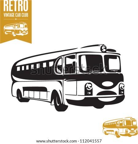 Retro bus. Vintage bus. - stock vector