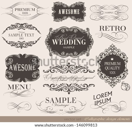 Retro calligraphic design elements and page decoration/ vector set/ typography Design  - stock vector