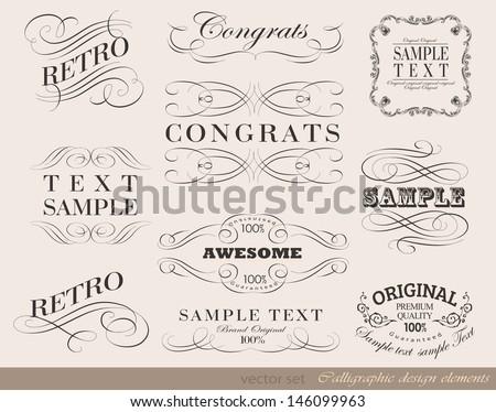 Retro calligraphic design elements, page decoration and label - stock vector